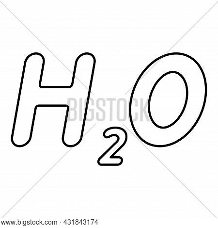 Chemical Formula H2o Water Contour Outline Icon Black Color Vector Illustration Flat Style Simple Im