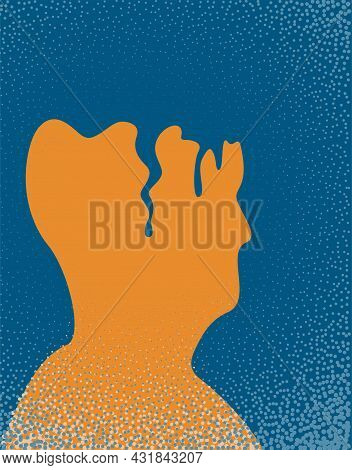 An Illustration Of A Person With Alzheimer's Disease. Vector Illustration.
