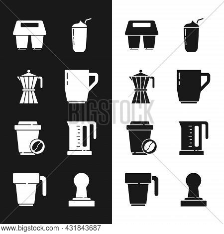 Set Coffee Cup, Moca Pot, To Go, Milkshake, Electric Kettle, Tamper And Icon. Vector