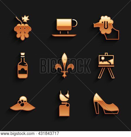 Set Fleur De Lys, Woman Dress, Shoe, Easel Or Painting Art Boards, Elegant Women Hat, Bottles Of Win