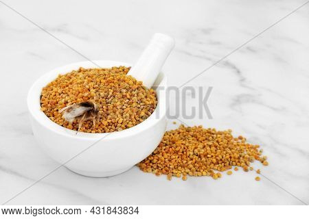 Honey bee with pollen grain. Dietary supplement and used in  herbal medicine to relieve inflammation, influenza, boosts liver health, strengthens immune system, reduces stress. On marble.