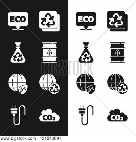 Set Bio Fuel Barrel, Garbage Bag With Recycle, Label For Eco Healthy Food, Recycle, Earth Globe And