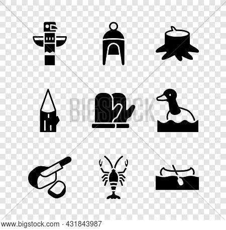 Set Canadian Totem Pole, Winter Hat, Tree Stump, Peameal Bacon, Lobster, Kayak Or Canoe, Wooden Log
