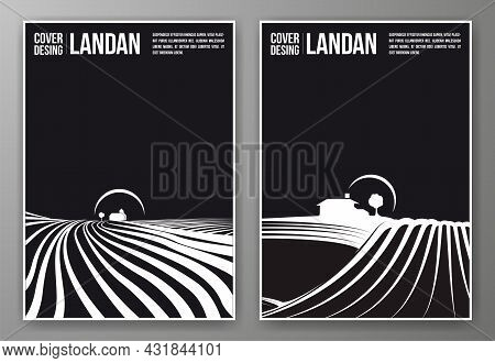 Set Of Black And White Covers, For Posters, Books, Brochures, .ideal For Communication In Wineries,