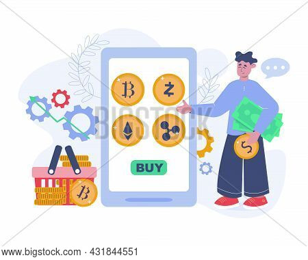 Crypto Currency Exchange Vector Concept. Flat Illustration For Crypto Currency Exchange And Purchasi