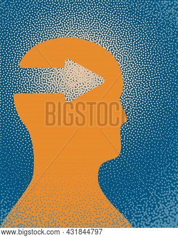 An Illustration Of A Person With Intuition. Vector Illustration.