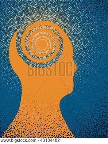An Illustration Of The Silhouette Of A Person With A Hyperactive Mind. Vector Illustration.