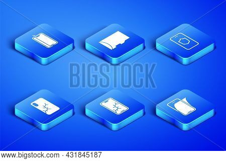 Set Glass Screen Protector, Mobile With Broken, Micro Sd Memory Card And Shield Icon. Vector