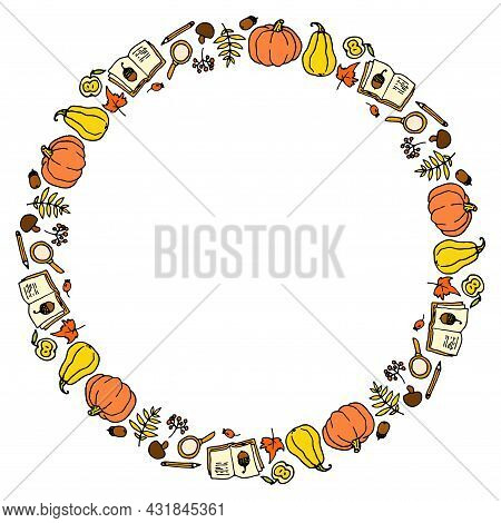 Vector Round Frame Of Autumn Icons In Yellow-orange Tones.a Border Of A Hand-drawn Doodle-style Pump