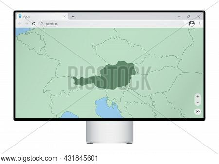 Computer Monitor With Map Of Austria In Browser, Search For The Country Of Austria On The Web Mappin