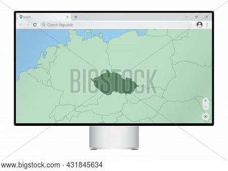 Computer Monitor With Map Of Czech Republic In Browser, Search For The Country Of Czech Republic On