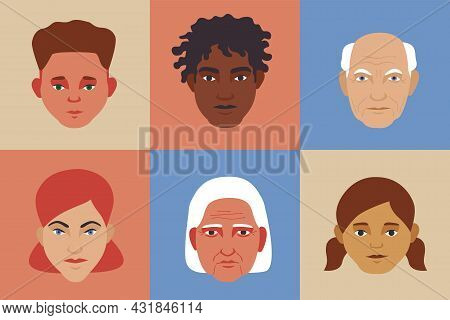 Set Of Diverse People Face Avatars On Color Square Background. Different Ethnic And Age Groups Simpl
