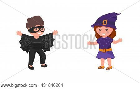 Kids In Costumes Isolated Vector Illustration. Girl In Witch Costume And Boy In Bat Costume Cartoon