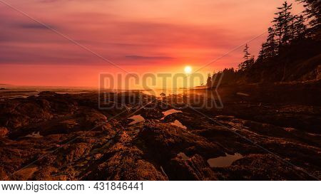 Botanical Beach On The West Coast Of Pacific Ocean. Dramatic Sunset Sky Art Render. Canadian Nature