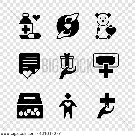 Set Medicine Bottle And Pills, Pleasant Relationship, Donate Child Toys, Donation Charity, Volunteer