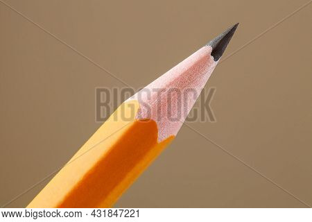 Pencil Simple, Sharpened Tip Of Graphite Kernel, Close-up Macro View