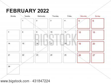 Wall Planner For February 2022 In English Language, Week Starts In Monday. Vector Calendar 2022. Vec