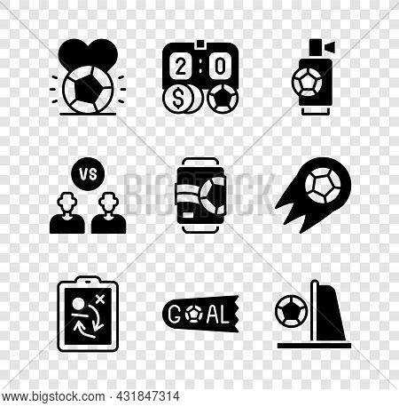 Set Soccer Football Ball, Football Betting Money, Air Horn, Planning Strategy Concept, Goal Soccer,