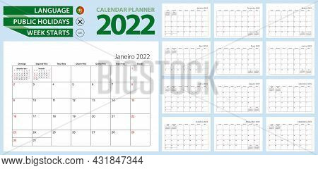 Portuguese Calendar Planner For 2022. Portuguese Language, Week Starts From Sunday. Vector Template.