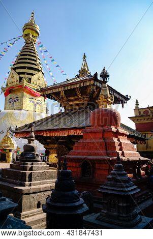 Kathmandu, Nepal - December 28,2011: Medieval Buildings And Structures Surrounding Swayambhunath Stu