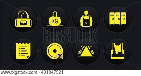 Set Sport Training Program, Locker Changing Room, Weight Plate, Metal Rack With Weight, Bodybuilder,