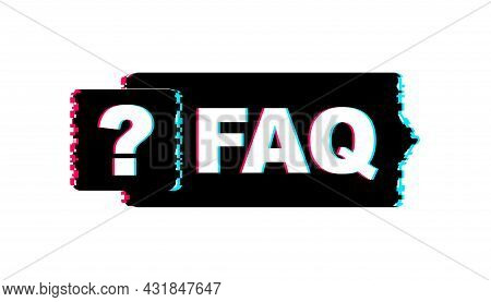 Frequently Asked Questions Faq Banner. Glitch Icon. Computer With Question Icons. Vector Illustratio