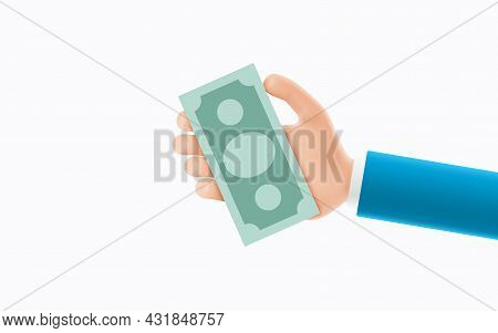 Cartoon Hand Of Businessman Holds Banknote. Concept Of Financial Operation With Money Bill And Bankn