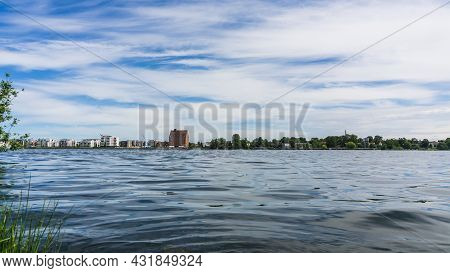 Schwerin, Germany - June 15, 2021 Ziegelsee With Lakeside Promenade And Appartment Buildings