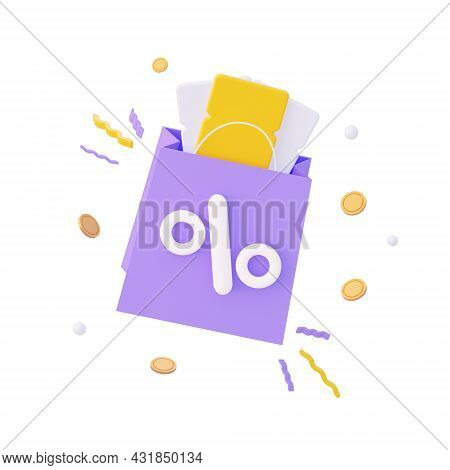The Concept Of A Promo Code. A Coupon With Flying Coinns. For Promotion, Marketing And Advertising I