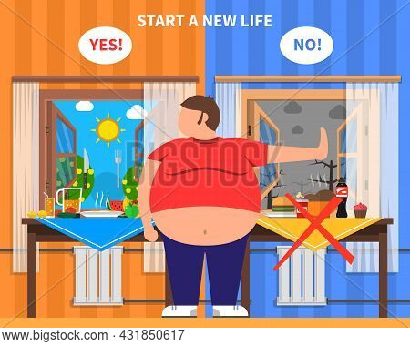 Obesity Design Composition With Fat Man In Center And Healthy And Junk Food Kits On Background Flat