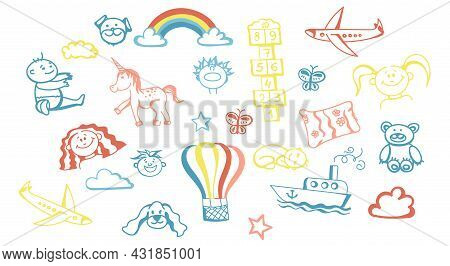 A Set Of Children's Doodles, Hand-drawn In Soft Pastel Colors. Elements For The Design. Children, To