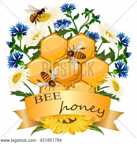 Illustration With Flowers And Honeycomb.colored Vector Illustration With Honeycomb, Bees, Flowers An