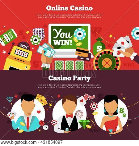 Flat Horizontal Banners Online Casino With Different Elements And Casino Party With Dealer And Playe