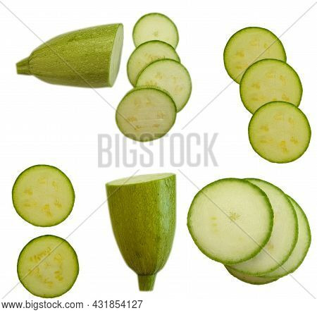 Sliced zucchini Isolated On White Background  Healthy