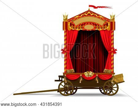 A carriage scene of a roving theater on wheels with a red curtain and decorations isolated on white. Art and theater poster and design template. 3D  illustration