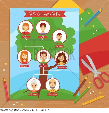 Family Tree Creative Project With Paper Scissors Pencils And Relatives Pictures Arrangement Flat Pos