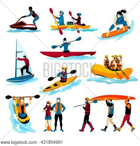 Extreme Water Sports Flat Color Icons Set With People In Rafting Surfing Canoeing Kayaking Windsurfi