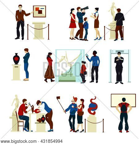 People In Museum Gallery Flat Color Icons With Visitors Keeper Sculptures Pictures And Working Artis