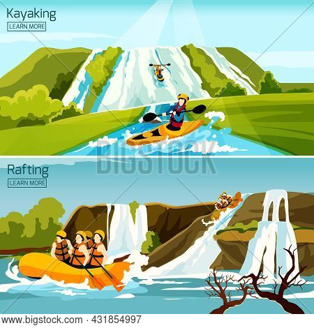 Two Colorful Active Water Sport Compositions With People Busy In Rafting Canoeing Kayaking Flat Vect