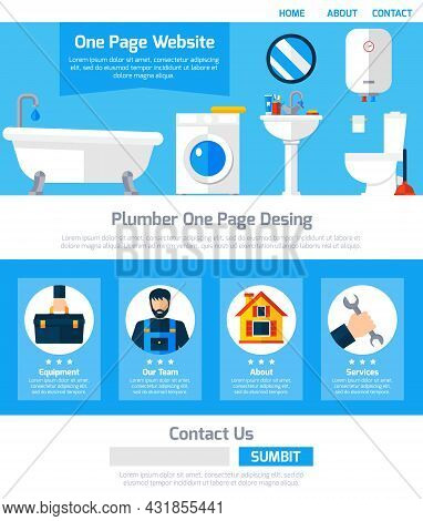 Plumber Service One Page Website Design With Infographic Elements Submit Button And Contact Informat