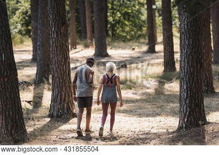 Senior Multiethnic Couple In Sportswear Walking In Forest.