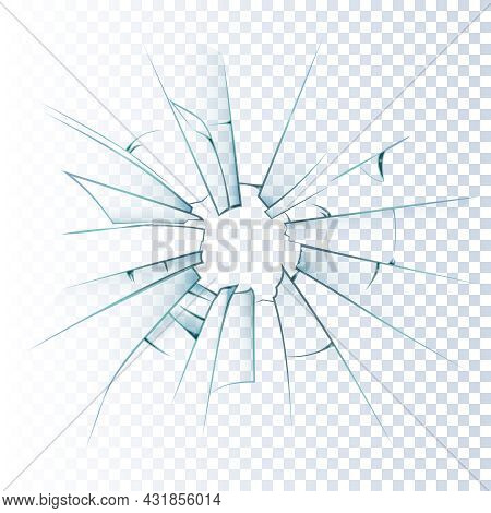 Broken Frosted Window Pane Or Front Door Glass Background Decorative  Realistic Daylight Design Vect