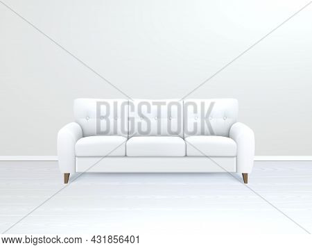 White Soft Luxury Leather Sofa In Modern Apartment Salon Art Gallery Or Office Interior Realistic Ve