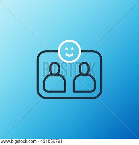 Line Friends Forever Icon Isolated On Blue Background. Everlasting Friendship Concept. Colorful Outl