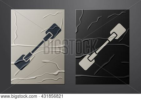 White Paddle Icon Isolated On Crumpled Paper Background. Paddle Boat Oars. Paper Art Style. Vector I
