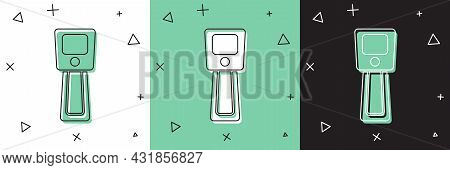 Set Digital Contactless Thermometer With Infrared Light Icon Isolated On White And Green, Black Back