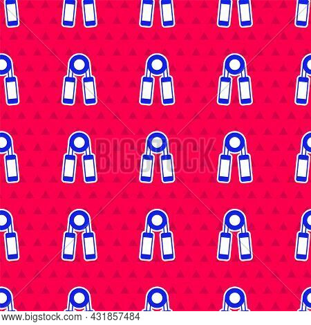 Blue Sport Expander Icon Isolated Seamless Pattern On Red Background. Sport Equipment. Vector