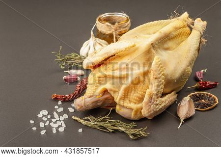 Whole Free-range Chicken Poultry. Organic Farm Food, Traditional Ingredients For Healthy Lifestyle