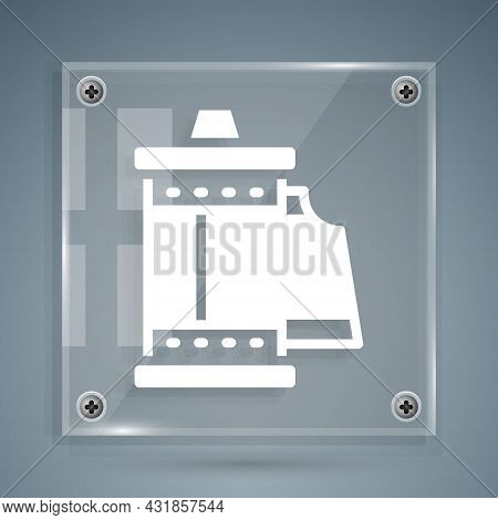 White Camera Vintage Film Roll Cartridge Icon Isolated On Grey Background. 35mm Film Canister. Films