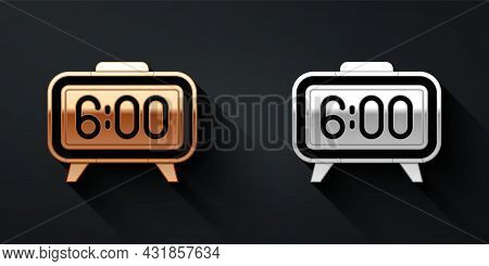 Gold And Silver Digital Alarm Clock Icon Isolated On Black Background. Electronic Watch Alarm Clock.